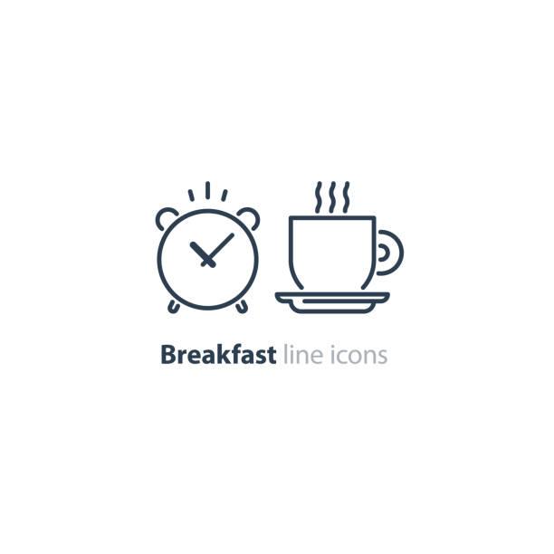 ilustrações de stock, clip art, desenhos animados e ícones de morning tea cup icon, alarm clock, breakfast coffee - pausa para café