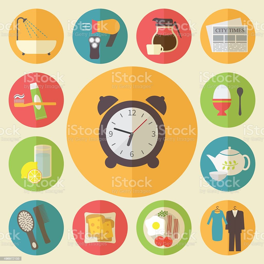 Morning time and occupation icons set. Daily routine vector art illustration