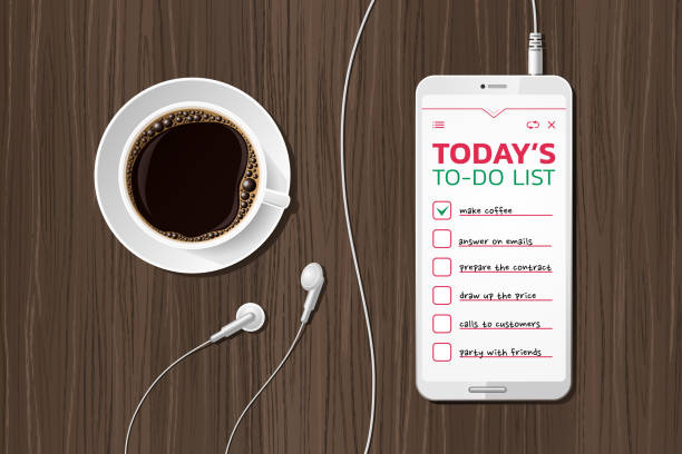 illustrazioni stock, clip art, cartoni animati e icone di tendenza di morning to-do list - mattina