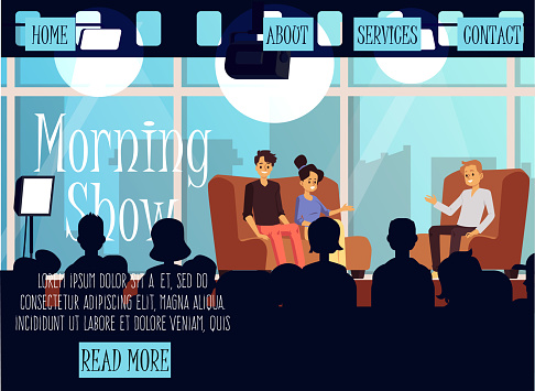 Morning TV show program interior with people in studio flat vector illustration.