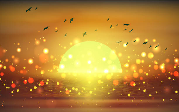 morning landscape of the beach in sunset horizon over water stock illustrations