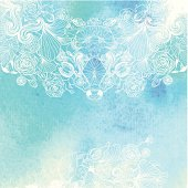 EPS10! Abstract delicate white floral pattern on water color background. Decorative border. Abstract floral invitation card. Template.