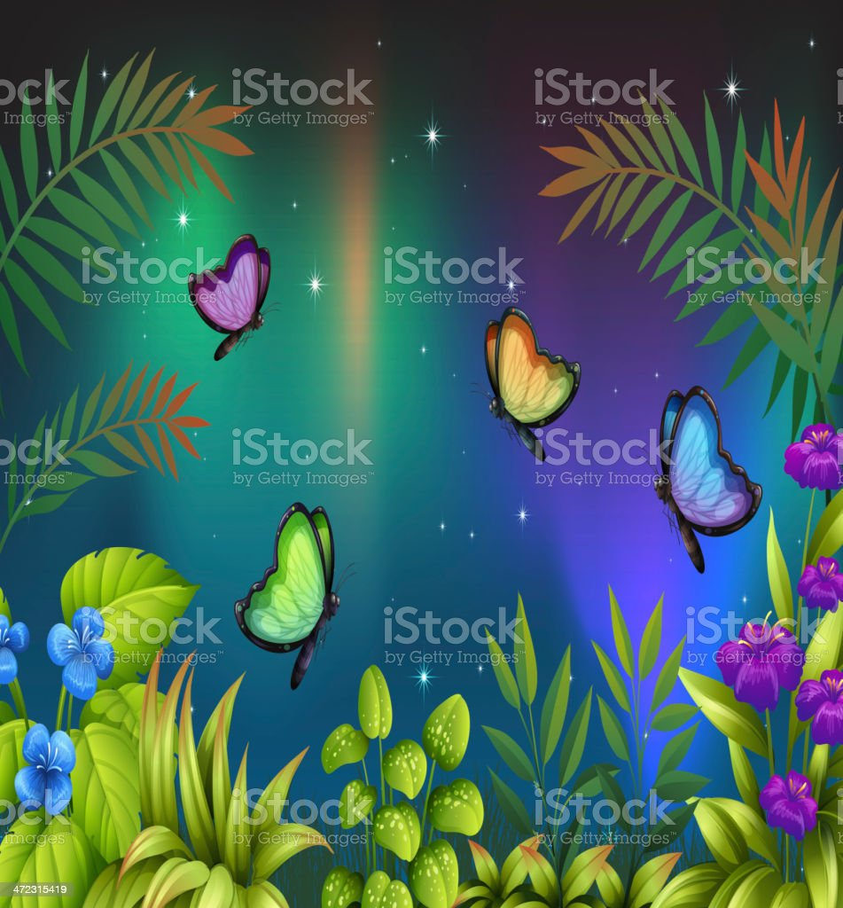 morning view with butterflies royalty-free stock vector art