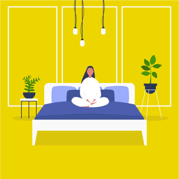 Morning. Wake up. male character sitting in bed. Bedroom front view. Early bird. Flat editable vector illustration, clip art. Millennial lifestyle. Morning. Wake up. male character sitting in bed. Bedroom front view. Early bird. Flat editable vector illustration, clip art. Millennial lifestyle. bedroom stock illustrations