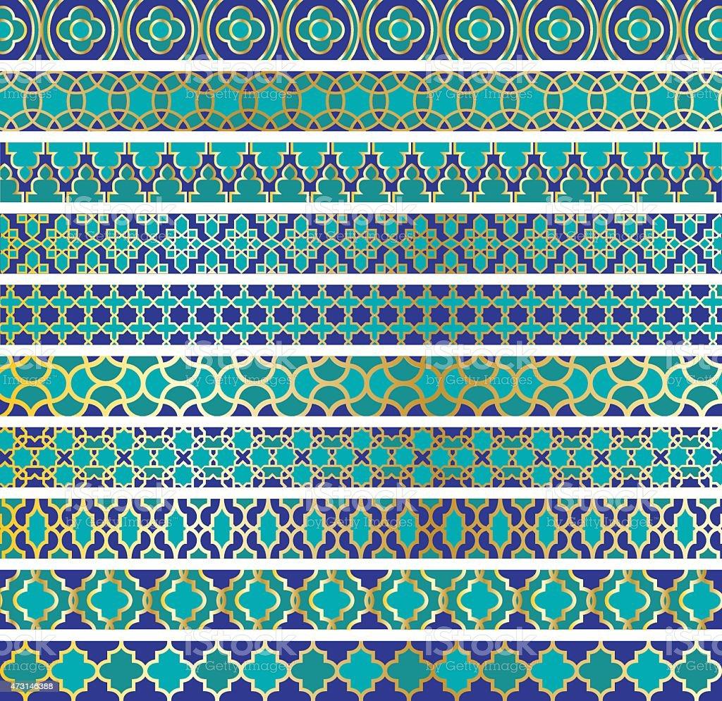Moroccan borders vector art illustration
