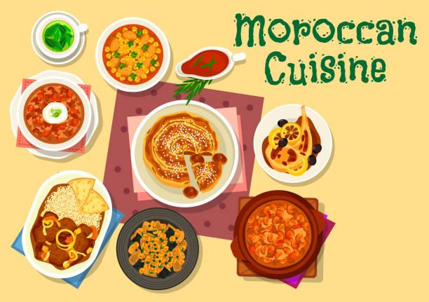 marokkanische küche traditionelle gerichte icon-design - feigensalat stock-grafiken, -clipart, -cartoons und -symbole