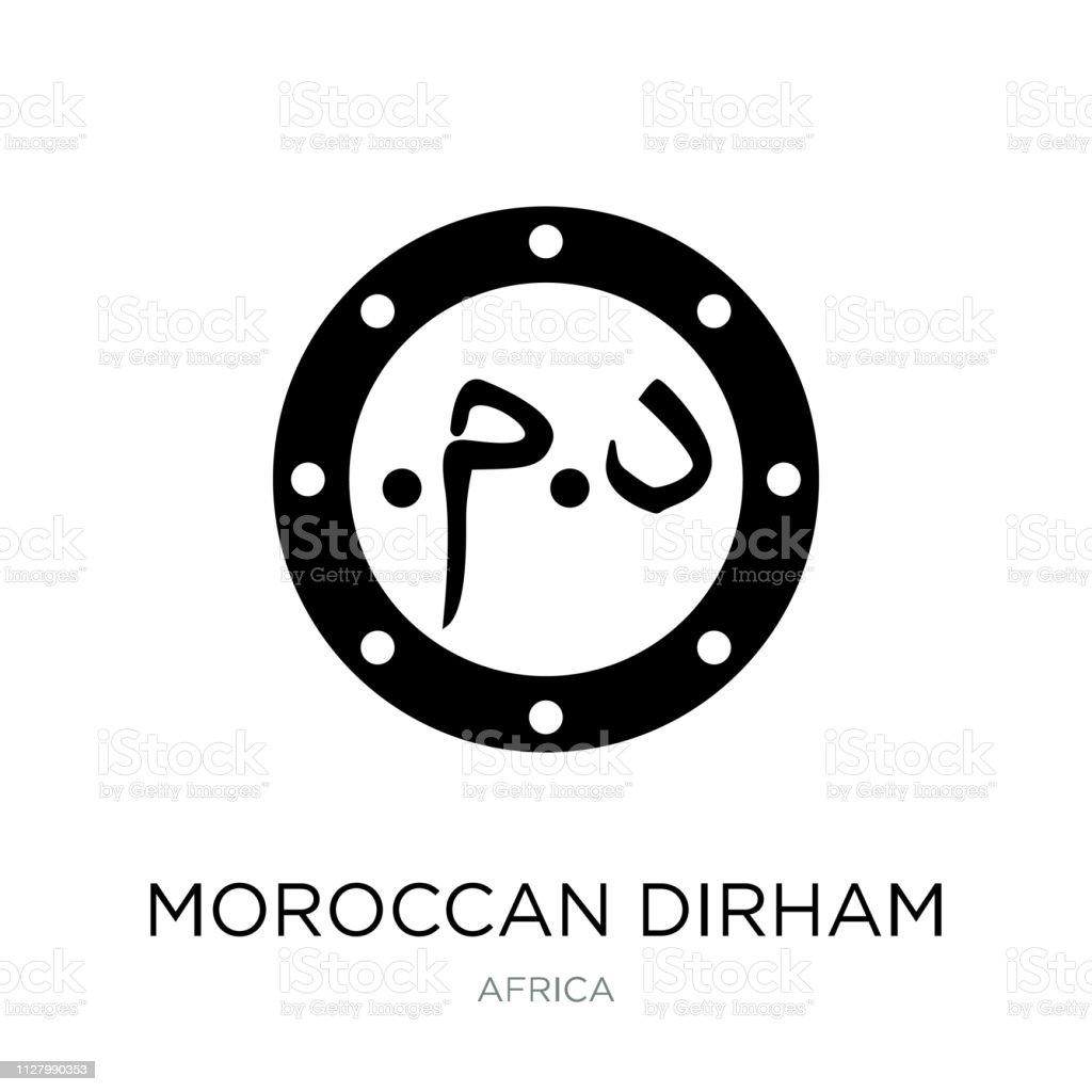 Marruecos dirham icono vector sobre fondo blanco moda dirham marroquí llena de iconos de colección África - ilustración de arte vectorial