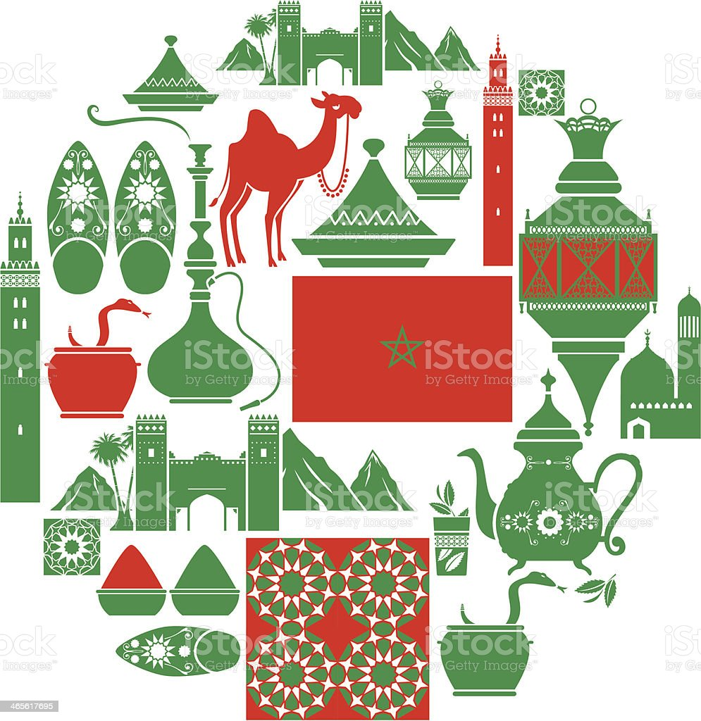 Moroccan Icon Set vector art illustration