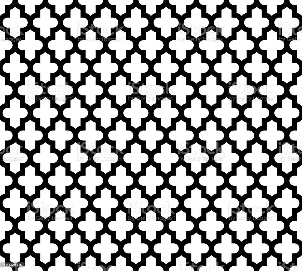 Moroccan Islamic Seamless Pattern Background In Black And White ...