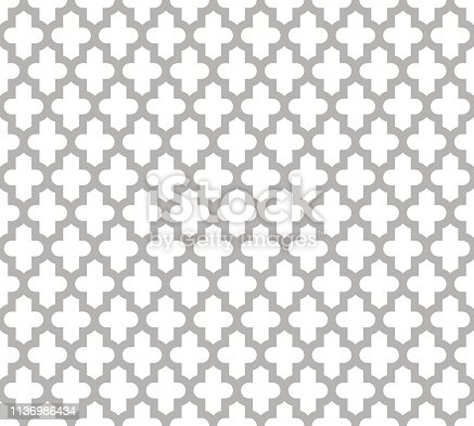 Moroccan islamic seamless pattern background in grey and white. Vintage and retro abstract ornamental design. Simple flat vector illustration