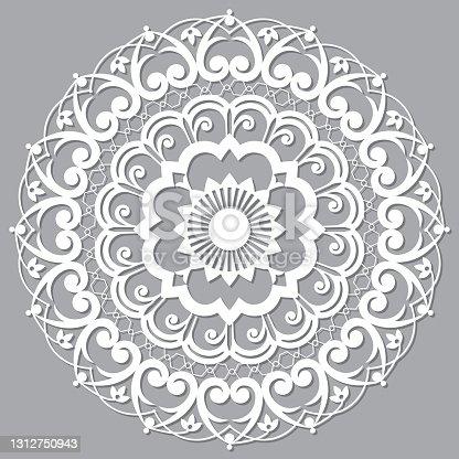 istock Moroccan Moorish  vector mandala, openwork arabic pattern with shadow in white on gray background 1312750943