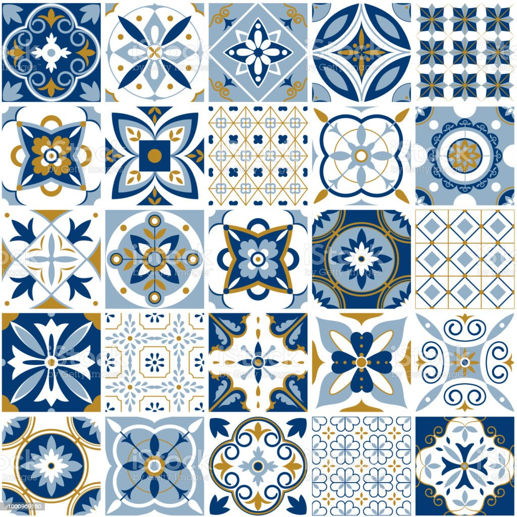 Marokkanische Muster Dekor Fliesen Textur Mit Blauen Ornament