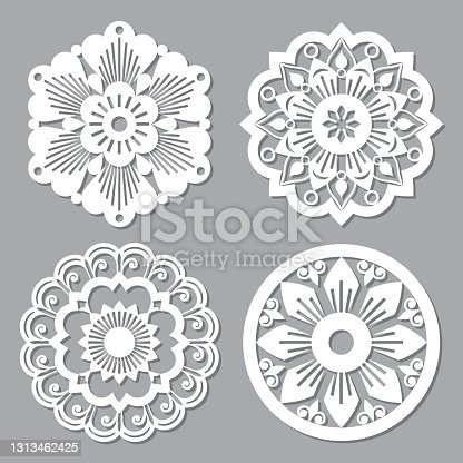istock Moroccan retro vector mandala design collections, four openwork vector detailed arabic patterns with flowers, leaves and swirls 1313462425