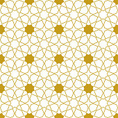 Moroccan seamless pattern, Morocco. Patchwork mosaic with traditional folk geometric ornament gold white. Tribal oriental style. Can be used for fabrics, wallpapers, websites. Vector