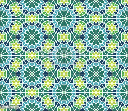 Moroccan tile pattern in navy, blue and green. Editable vector seamless pattern repeat.