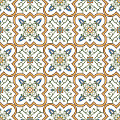 Moroccan tile pattern vector seamless with floral motifs. Italian majolica, portuguese azulejos, arabesque, mexican talavera and spanish ceramic. Mosaic background