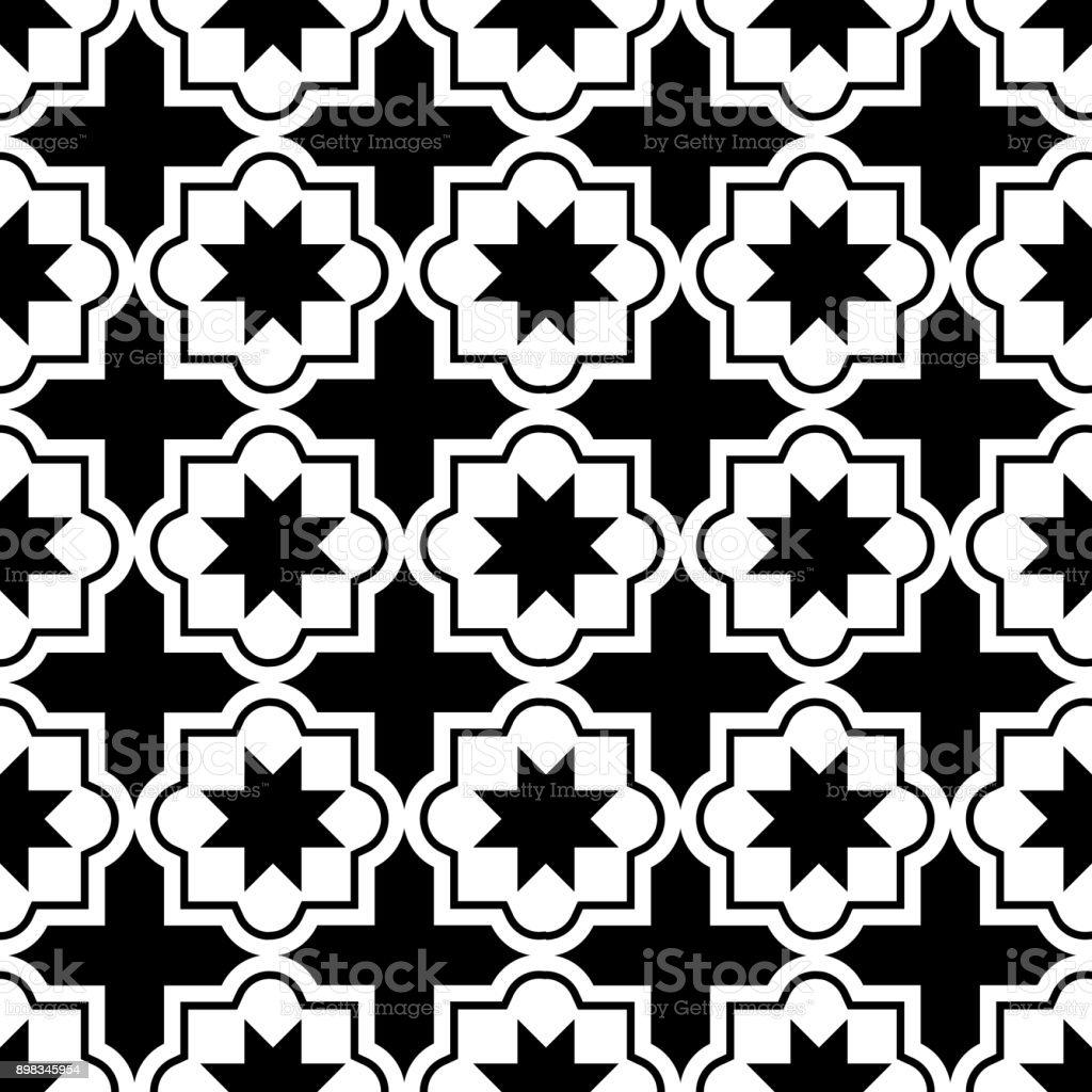 Marokkanische Fliesen Design Nahtlose Schwarzweiß Muster ...