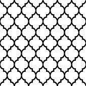 Moroccan tiles design, seamless black pattern, geometric background