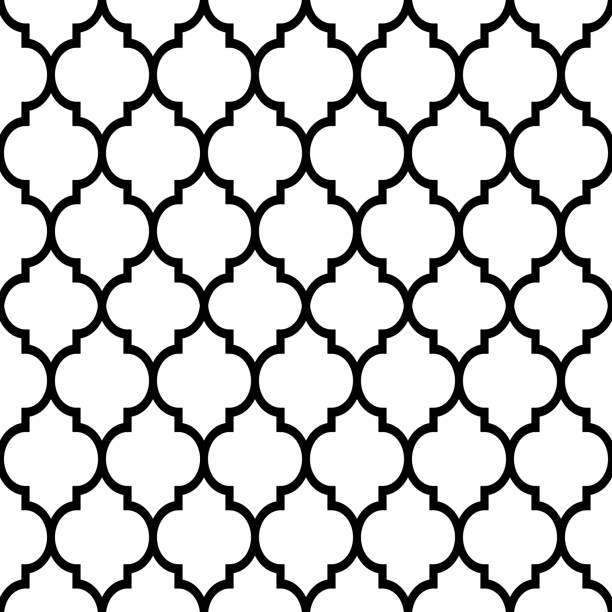 Moroccan tiles design, seamless black pattern, geometric background Repetitive monochrome wallpaper background inspired by ceramic tiles from Morocco, mosaic with abstract shapes morocco stock illustrations