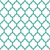 Moroccan tiles design, seamless turqoise pattern, geometric background