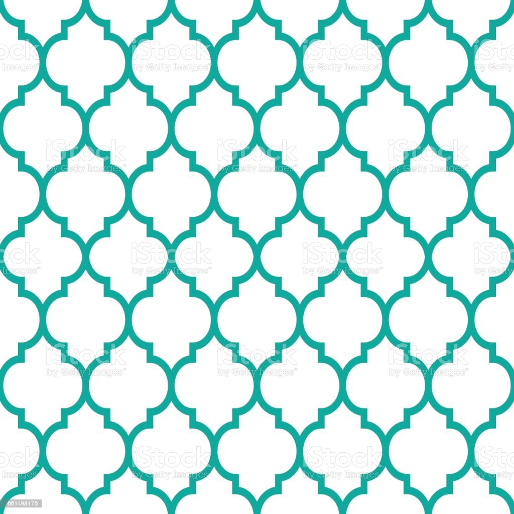 Moroccan tiles design, seamless turqoise pattern, geometric background vector art illustration