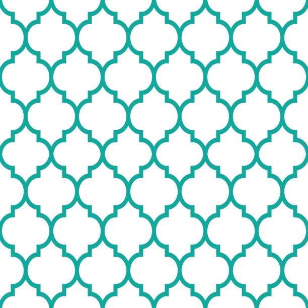 moroccan tiles design, seamless turqoise pattern, geometric background - tile pattern stock illustrations, clip art, cartoons, & icons
