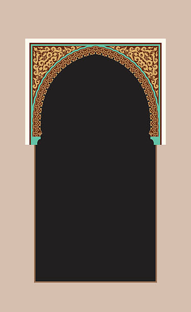 Morocco Arch. Traditional Islamic Background. Mosque decoration element. vector art illustration