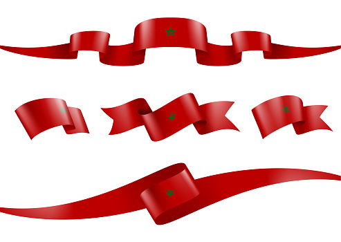 Morocco flag Ribbon Set - Vector Stock Illustration