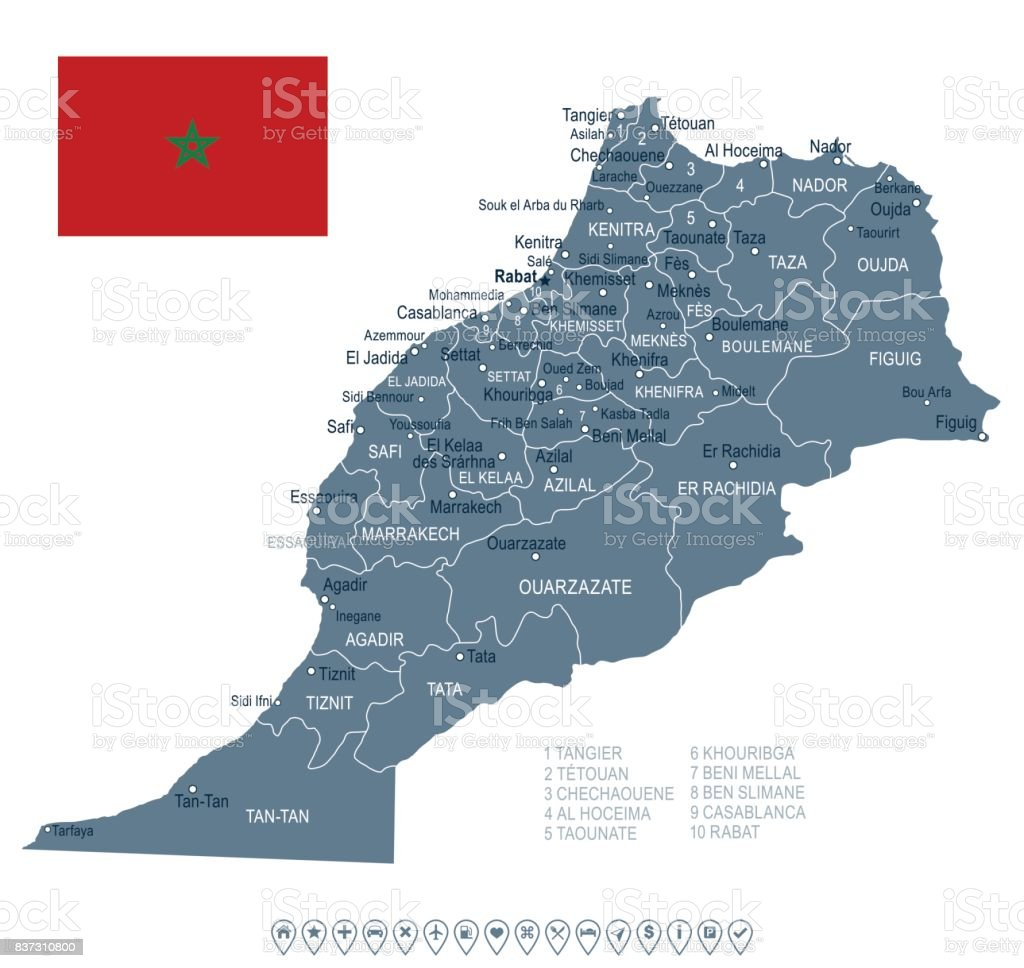 Morocco Map And Flag Illustration Stock Vector
