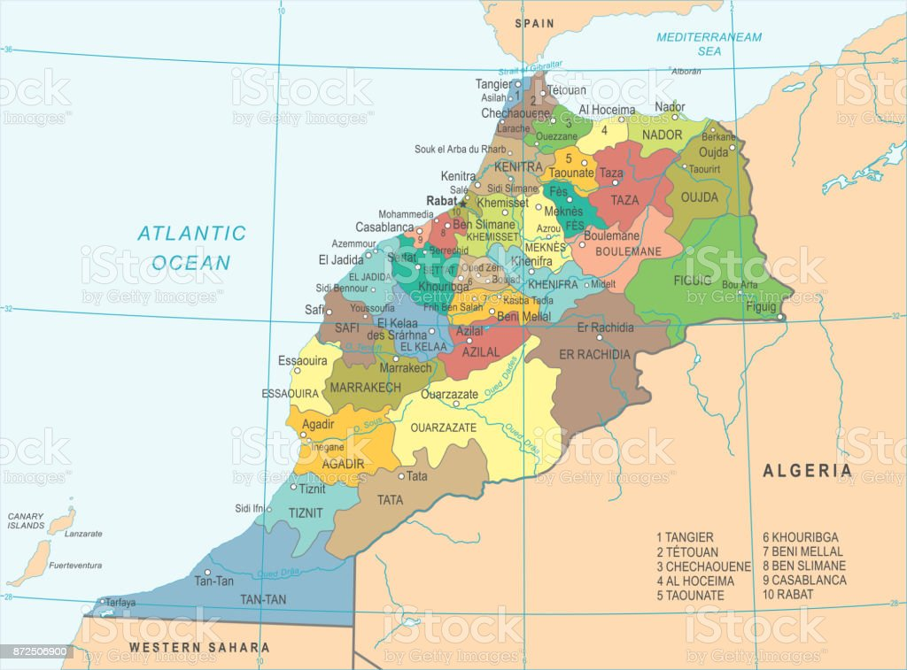 Morocco Map Detailed Vector Illustration Stock Vector Art & More ...