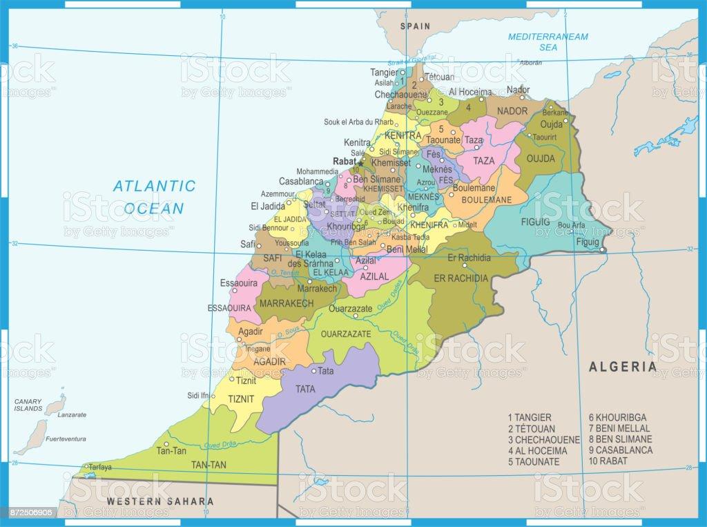 Morocco Map Detailed Vector Illustration stock vector art 872506906