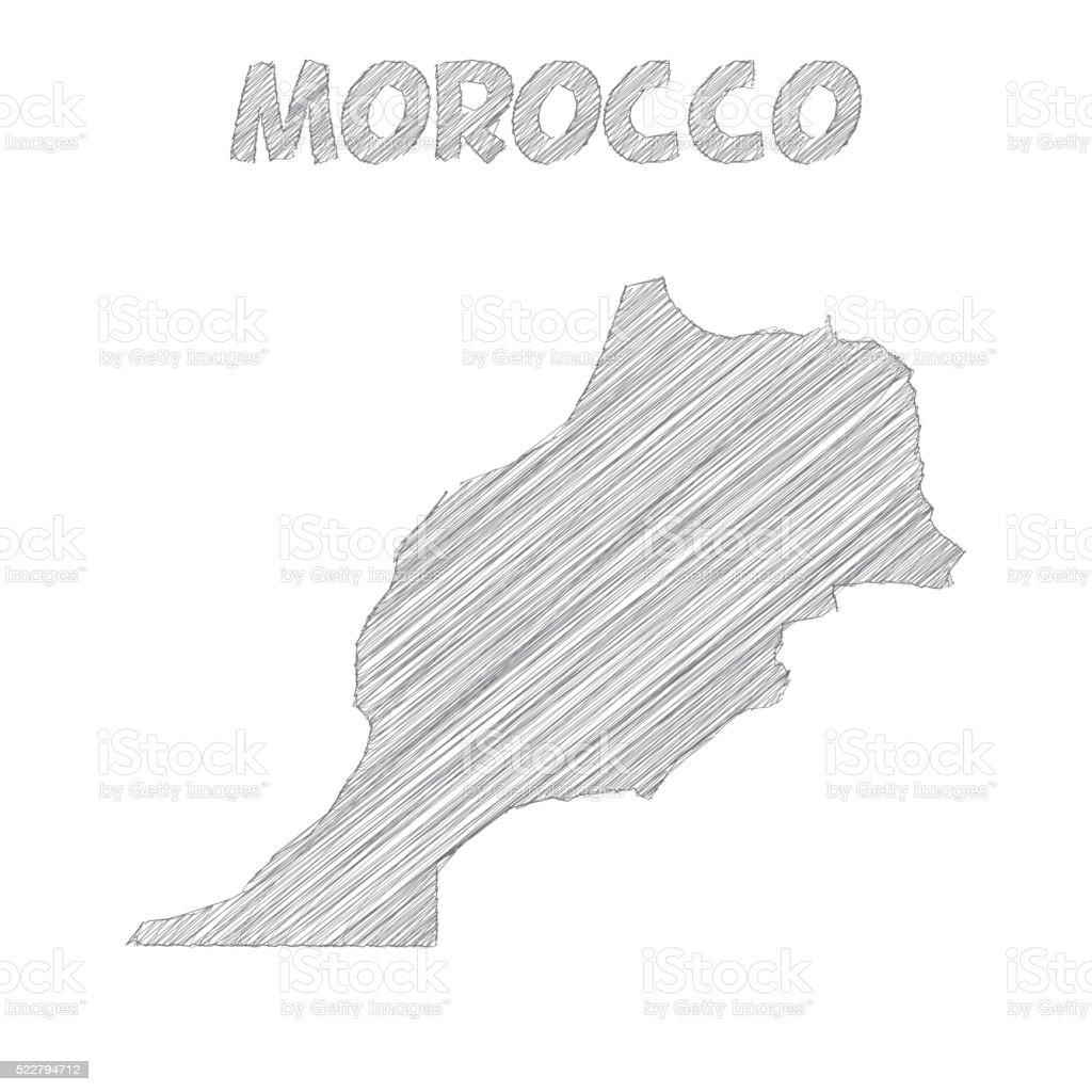 Marocco Mappa Disegno A Mano Su Sfondo Bianco Immagini Vettoriali