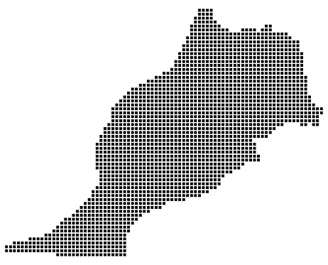Morocco map square dotted style