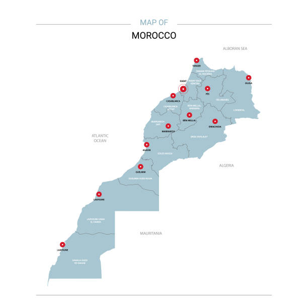 Morocco map vector with red pin. Morocco vector map. Editable template with regions, cities, red pins and blue surface on white background. morocco stock illustrations