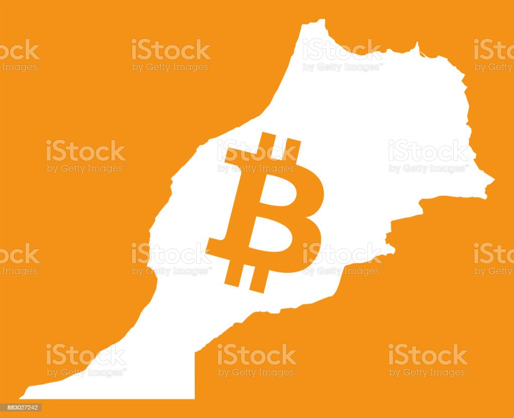 Morocco Map With Bitcoin Crypto Currency Symbol Illustration Stock