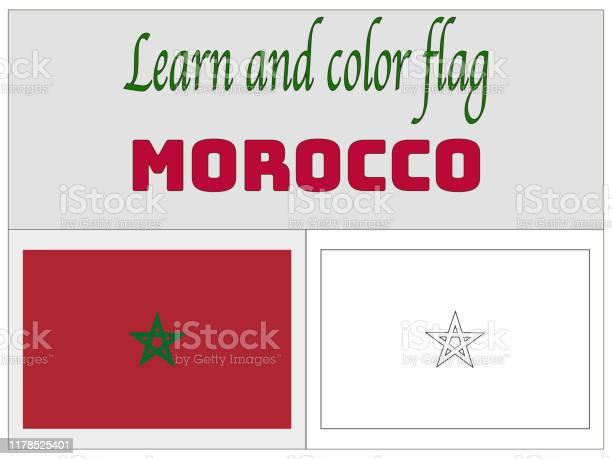 Ilustración De Bandera Nacional De Marruecos Libro Para Colorear Para La Educación Y El Aprendizaje Colores