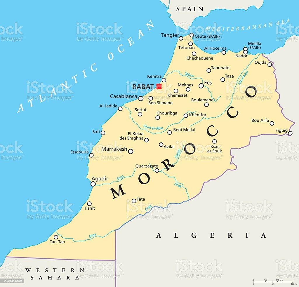 Marokko politische Karte – Vektorgrafik