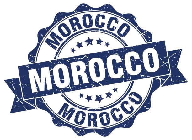 Morocco round ribbon seal vector art illustration