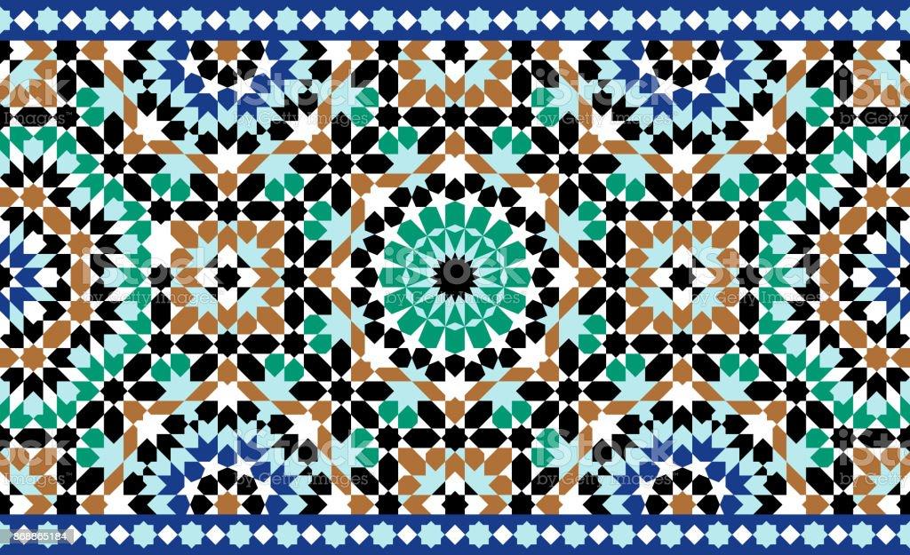 Morocco Seamless Border. Traditional Islamic Design. Mosque decoration element. vector art illustration