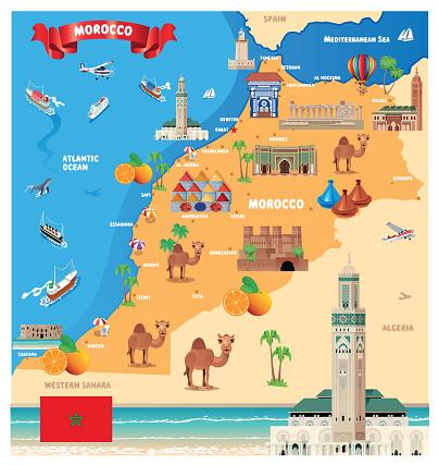Morocco Travel Map, Casablanca, Rabat, Fes, Sale, Marrakesh, Agadir, Tangier, Meknes, Oujda-Angad, Al Hoceima, Kenitra, Tetouan, Temara, Safi, Mohammedia, Khouribga, Beni Mellal, Fes al Bali, El Jadid, Taza, Nador, Settat, LabirE
