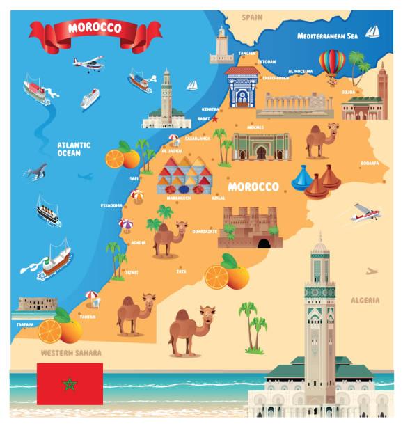 摩洛哥旅遊地圖, 卡薩布蘭卡, 拉巴特, 費斯, 塞勒, 馬拉喀什, 阿加迪爾, 坦吉爾, 梅克內斯, 烏伊達-安加德, 胡塞馬, 凱尼特拉, 特圖安, 特馬拉, 薩菲, 穆罕默迪亞, 庫裡布� - 阿爾及利亞 幅插畫檔、美工圖案、卡通及圖標