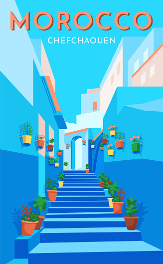 Morocco travel retro poster, vintage banner. Flower blue street in old city Chefchaouen. Flat vector illustration.