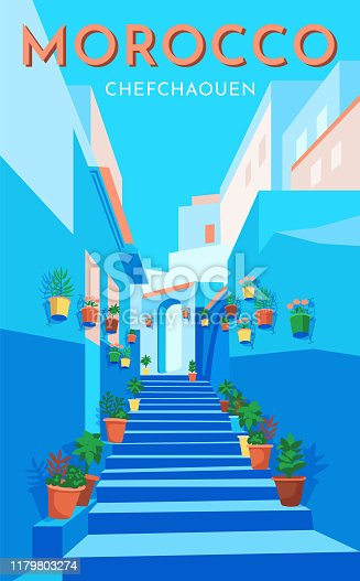 Morocco travel retro poster, vintage banner. Flower blue street in old city Chefchaouen. Hand drawing flat vector illustration.