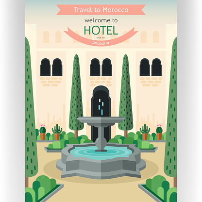 Morocco traveling poster template.