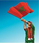 Morocco Waving Flag Soccer Fan