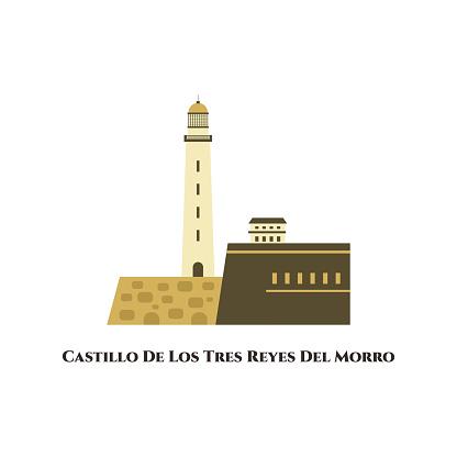 Morro Castle (Castillo de los Tres Reyes Magos del Morro). El Morro fortress and lighthouse in Havana Cuba. Famous historical landmark. Travel tourist destination in Europe. Vector flat illustration
