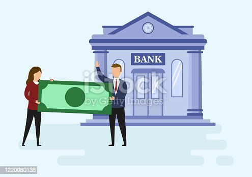 Mortage Loan And Investments Types Concept. Business People Are Holding A Big Money Banknote Standing Before Bank Building. Metaphor Of Successful Investment. Cartoon Flat Style. Vector Illustration.