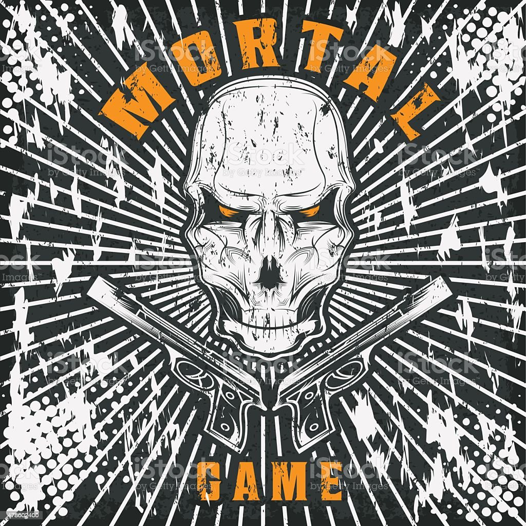 Mortal Game Illustration With Skull And Guns Stock Vector Art & More ...