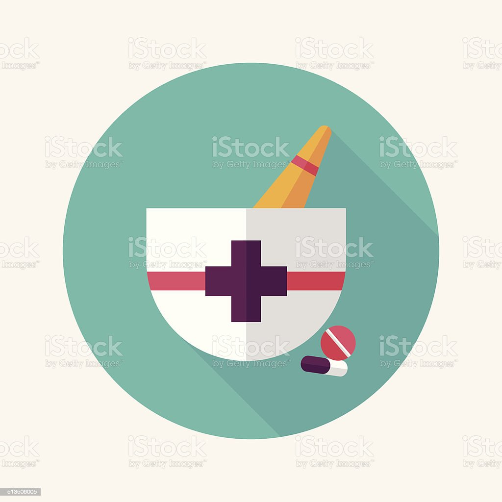 mortar and pestle Flat style Icon with long shadows vector art illustration