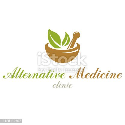 Mortar and pestle graphic vector symbol composed with green leaves. Homeopathy creative symbol for use in medicine, rehabilitation or pharmacology.